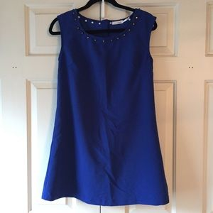 Blue mod dress with gold studs